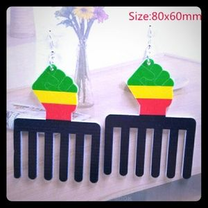 Afro-Centric Wooden Comb Earrings